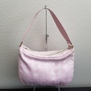 Auth CHANEL Travel Ligne Hobo Pink